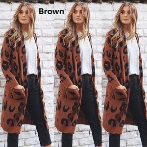 Sweaters - Leopard print long sweater coat cardigan